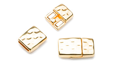 magnet clasp hammered 24x14mm  for 10mm flat leather x3pcs