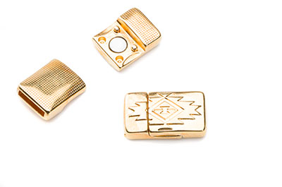 magnetic clasp for 10mm flat leather 13x23mm bronze x4pcs