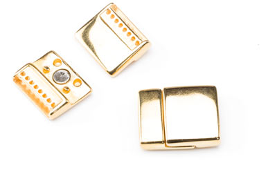 magnetic clasp 24x20mm gold color with 8 rings x3pcs