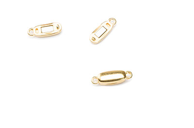 rectangular magnetic clasp gilded with 2 eyes 12x5mm  x10pcs