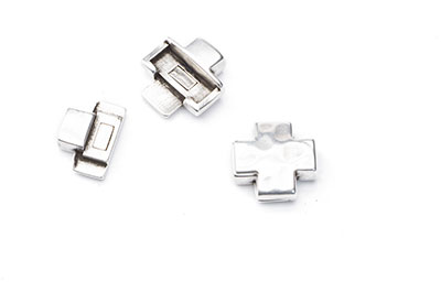 hammered cross magnetic clasp 15mm for thong 5mm x4pcs