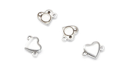 magnetic clasp heart 15x11mm with 2 rings x10pcs