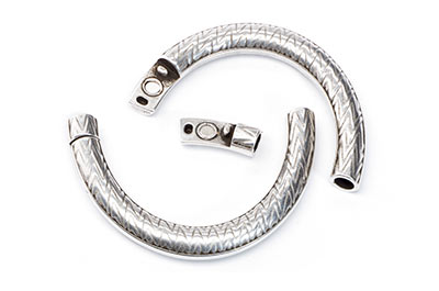half bracelets for round cord 5mm 62x39mm silver x2pcs