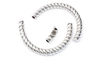 half bracelet for round cord 4mm 40x60mm silver x2pcs