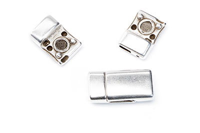 clasps for lanyard 5mm and string 12x25mm silver x4pcs