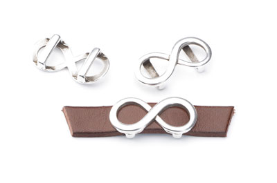 Slider infinity loop 27x13mm for flat band 10mm x10pcs