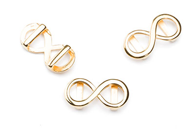 infinity loop 27x13mm gold color for lanyard 10mm x6pcs