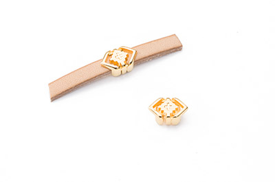 slider geométric 11x7mm gold color for 5mm flat leather x15pcs
