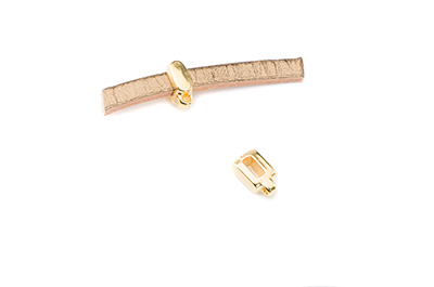 slider gold color with pendant holder for 5mm flat leather x30pc
