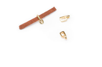 slider 9x4mm gold color with pendant holder for 3mm flat band x3