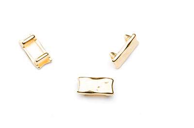 passing rectangle hammered 16x8mm gold color for thong 5mm x12pc