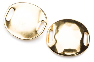 passing hammered disc 37x34mm gold color x4pcs