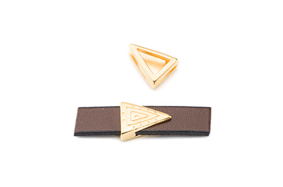 slider triangle 16x13mm gold color for 10mm flat leather x10pcs