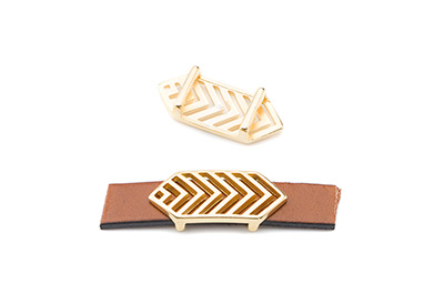 slider geometric 28x12mm gold color for 10mm flat leather x8pcs