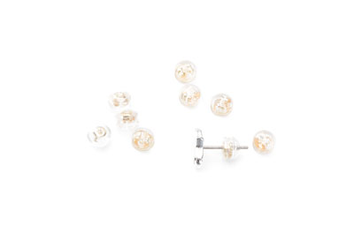 Ear clutches transparent 4mm x50pcs