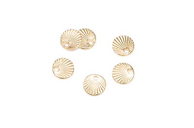 Round with rays 9x9mm golden x16pcs
