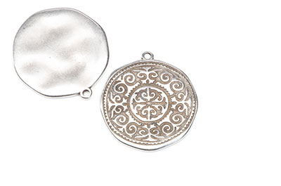 Round with arabic pattern 28x31mm silver x8pcs