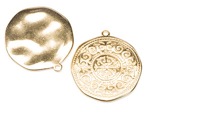 Round with arabic pattern 28x31mm golden x8pcs