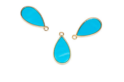 Drop wireframe Vitraux pendant 12x23mm turquoise x8pcs
