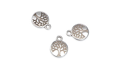 Tree of life double face pendant 12x16mm silver x16pcs