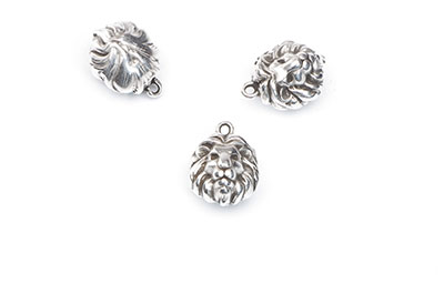 Lion's head pendant 13x37mm silver x14pcs