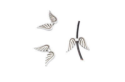 angel wing passing beads 15x9mm x16pcs