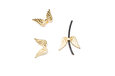 beads passing angel's wing 15x9mm gilded x12pcs