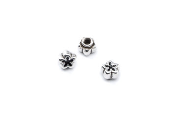 rivet flower 8mm enamel black x10pcs