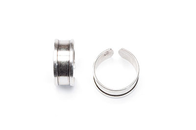 Ring 9mm altes Silber x4pcs