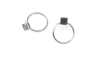 earring circle 17mm square 11.5mm x6pcs