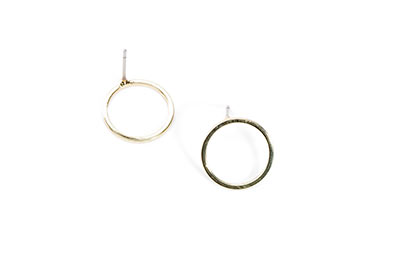 ear studs brass round rings 14mm gold x6pcs