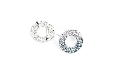clous d'oreilles laiton rond 16mm rhodium x6pcs