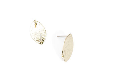 oval brass ear studs 11 * 20mm gold tone x6pcs
