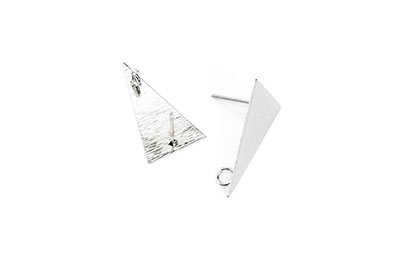 clous d'oreilles laiton triangle 13*23mm rhodium x6pcs