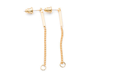 earring chain 40mm gilded brass x10pcs