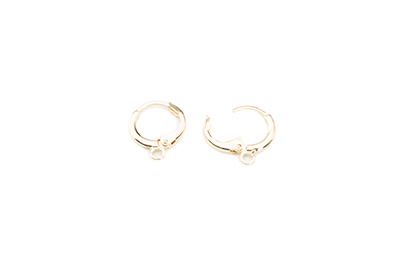 brass leverback earring round 12mm gold color x12pcs