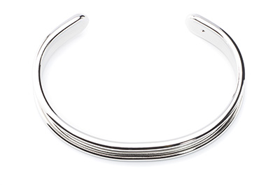 bracelet for 5mm flat band 66x10mm rhodium x3pcs