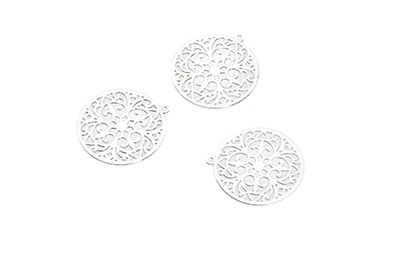 laser cut rond 20mm rhodium x20pcs