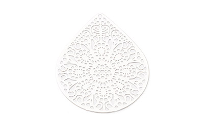 laser cut goutte 49x39mm rhodium x6pcs