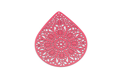 laser cut goutte 49x39mm rouge x6pcs
