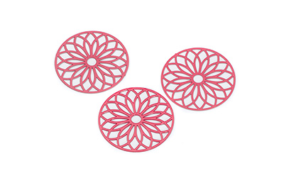 laser cut rond 24mm rouge x10pcs