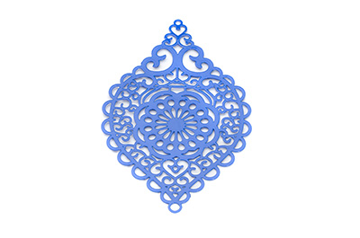 laser cut rhombus 58x38mm bleu x6pcs