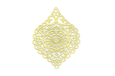 laser cut rhombus 58x38mm jaune x6pcs