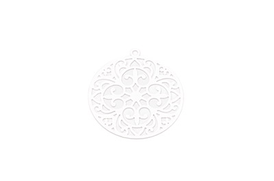 laser cut rond 30mm rhodium x10pcs