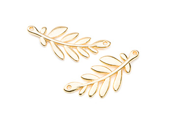 connector 2 holes olive branch 37x17mm gold color x5pcs