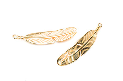 connector feather 44x10mm 1 hole,1 ring gold color x5pcs