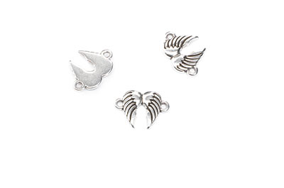 angel wings connector 16x12mm 2 rings x20pcs