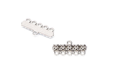 connector 5 loops 25x8mm silver x12pcs