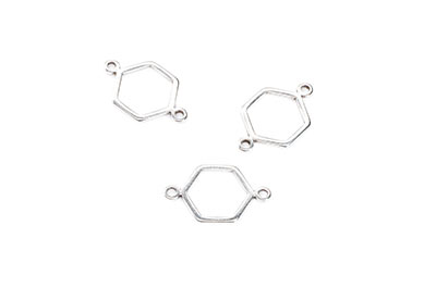 connectors 2 rings zamac hexagon 12 * 13mm silver x30pcs
