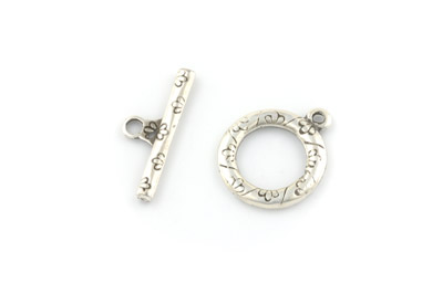 toggle clasp round flower 21mm x 10pcs